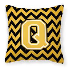 Letter Q Chevron Black and Gold Fabric Decorative Pillow CJ1053-QPW1414