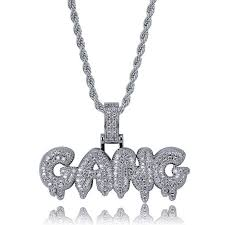 lucky sonny bubble letter pendant necklace drip style initial charm cz micro pave pendants necklaces