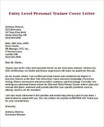 Fitness Cover Letters Sample Entry Level Cover Letter 8 Examples In Word Pdf