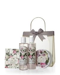 lila grace 4 piece vanilla rose organza tote gift set lila grace shower gel