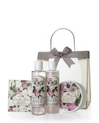 lila grace 4 piece vanilla rose organza tote gift set lila grace shower gel