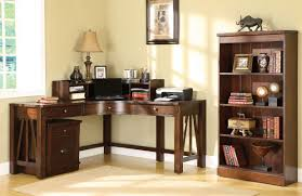 corner desk home office furniture. Home Office Desks. Classic Brown Varnished Oak Wood Corner Desk Which Paired With Display Bookcase Furniture M