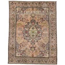 vintage turkish sivas rug in soft pastel colors in art nouveau style for