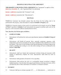 Roofing Contract Template Contract For Roofing Template