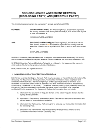 non disclosure agreement between two companies business agreement sample letter