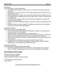 Waitressing Resume Fine Dining Waiter Resume Airexpresscarrier Com