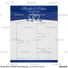 Seating Chart Royal Wedding Royal Blue White Floral Reception Seating Chart 2 Zazzle