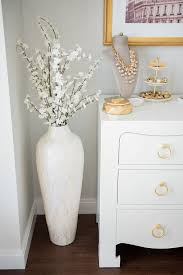 glass pearly mosaic floor vase with white flowers for a spring inspired home