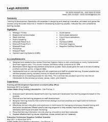 Training and Development Specialist Resume