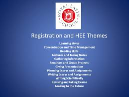 registration and hee themes learning styles concentration and time  1 registration and hee themes learning styles concentration and time management reading skills lectures and taking notes gathering information seminars and