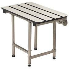 18 x 15 folding bench with legs phenolic slatted white handicapped accessible fold down shower seat