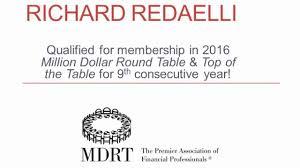 richard redaelli qualified for membership in 2016 million dollar round table