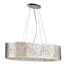 plc lighting nest 32 in polished chrome single oval pendant