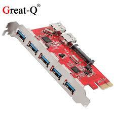 <b>Great Q</b> Super Speed 7 Port <b>5Gbps USB 3.0</b> HUB to PCI E PCI ...