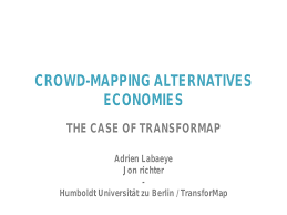 Jon richter, CROWD-MAPPING ALTERNATIVES ECONOMIES