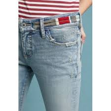 Women Pilcro Embroidered Mid Rise Slim Straight Jeans Denim