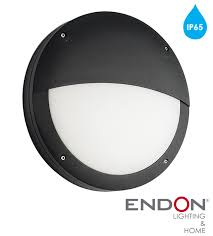 endon luik led eyelid round outdoor wall light textured black paint opal polycarbonate finish 61753