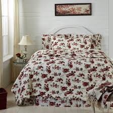 mariell red flowers with black and olive leaves quilts bedding and accessories by april and olive from vhc brands