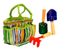 kids garden tote w tools includes a canvas tote with front and side pockets hand rake shovel and trowel fun and functional