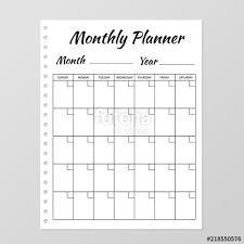 planner page template monthly planner template blank white notebook page isolated on grey
