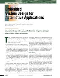 Embedded Computing Systems Applications Optimization And Advanced Design Pdf Embedded System Design For Automotive Applications