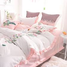 exquisite pink white embroidery bedding set 4 600x600 exquisite pink white embroidery bedding set