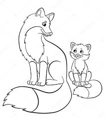 Small Picture Coloring pages Wild animals Mother fox with her little cute baby