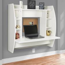 best choice s wall mount floating computer desk with storage shelves home work station white