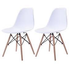 Us 6499 Giantex Set Von 2 Stücke Mid Century Esszimmer Stuhl Moderne Holz Beine Seite Stühle Weiß Wohnzimmer Möbel Hw58931wh 2 In Esszimmerstühle