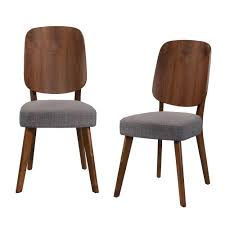 handy living georgetown armless dining side chair with wood paddle design back and seat in gray