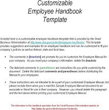 Employees Handbook Template Fresh New Employee Free For Small