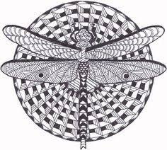 Small Picture Dragonflies Adult Coloring page Digital stamp Dragonflies Adult