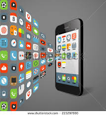 stock vector different color icons flows to modern smartphone design elements