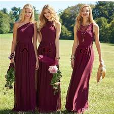 New Burgundy Bridesmaid Dresses A Line Sleeveless Floor Length Mixed Styles Wedding Party Dresses Cheap Summer Boho Maid Of Honor Gown After Six