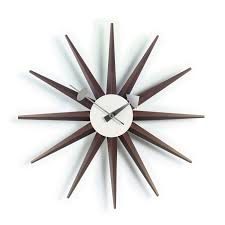 sunburst walnut wall clock