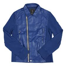 undercover undercover uniqlo and toggle faux leather jacket blue sizem thrift good