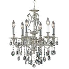 starfire crystal imperial collection 6 light chandelier in antique silver 5106as