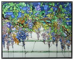 tiffany style wisteria stained art glass window panel wall hanging display