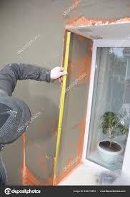 Bauunternehmer Verputzen Wand Mit Fiberglas Mesh Gips Netz Nach