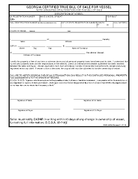 How Do You Make A Bill Of Sale Georgia Vessel Bill Of Sale Form Pdfsimpli