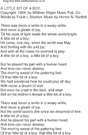 Small Picture Old Time Song Lyrics for 47 A Little Bit Of A Boy