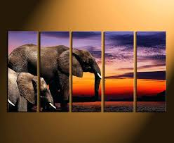 5 piece canvas print home decor elephant wall art animal multi panel and giraffe nursery huge