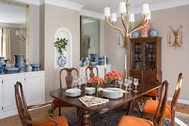 gray and orange dining room