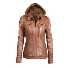 s 7xl plus size women s faux leather jacket 2018 autumn winter hooded zippered fake slim short motorcycle jacket coat d19010903 leather jacket cbj