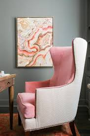 gray and pink office features walls painted gray sherwin williams anonymous as well as a desk with turned legs and a pink velvet two tone wingback chair