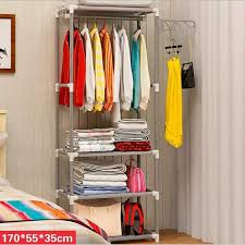 portable creative hanger rack coat hat clothes organizer closet storage shelves