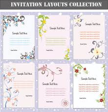 Set Of Invitation Cards Layouts Vector Free Vector In Encapsulated