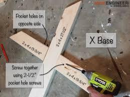 diy x brace concrete side table plans step 3