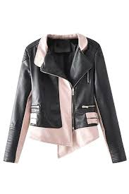 long sleeve zipper color block faux leather biker jacket pink melodicday