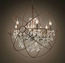 iron crystal chandelier black 6 light versailles